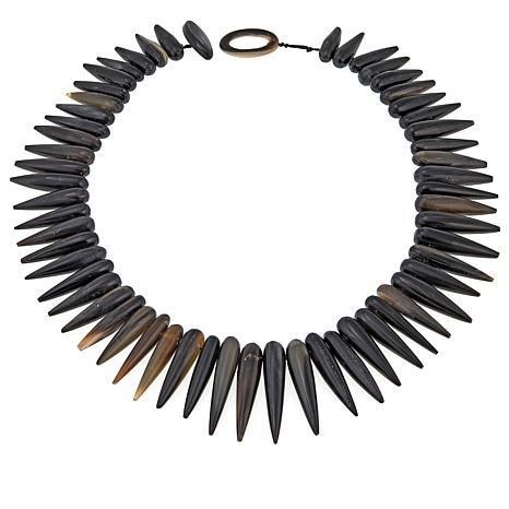 """Natural Beauties Black Watusi Cattle Horn Spiked 25-3/4"""" Necklace"""