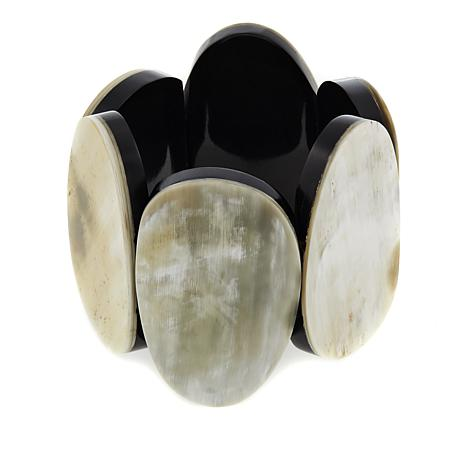 Natural Beauties Brown Multicolor Buffalo Horn Stretch Bracelet