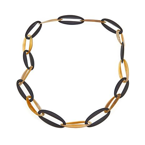 """Natural Beauties Cattle Horn and Ebony Oval-Link 46"""" Necklace"""