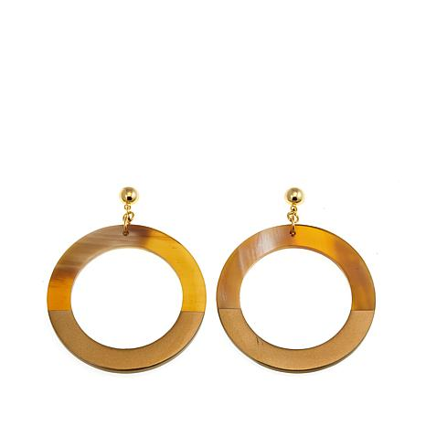 Natural Beauties Light Buffalo Horn Circle Drop Gold Lacquer Earrings