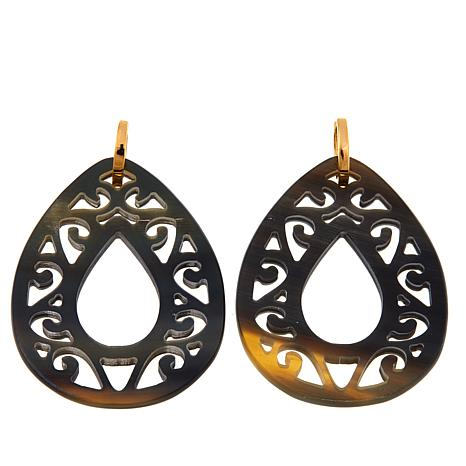 Natural Beauties Pear-Shaped Dark Buffalo Horn Earrings