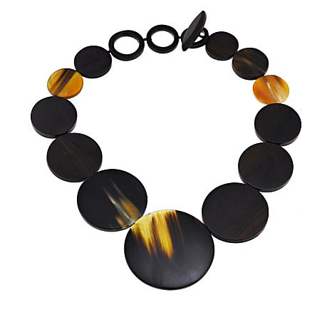 Natural Beauties Watusi Cattle Horn and Ebony Wood Disc Necklace