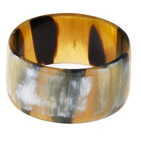 Natural Beauties Wide Slip On Buffalo Horn Bangle Bracelet