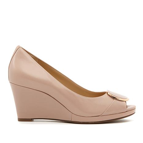 Naturalizer Ollie Leather Peep-Toe Wedge Pump