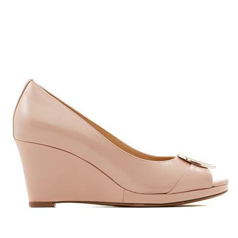 e124442c0ce89 Naturalizer Ollie Leather Peep-Toe Wedge Pump
