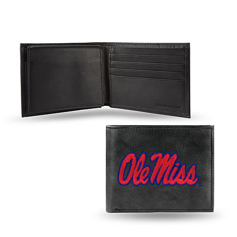 NCAA Embroidered Leather Billfold Wallet - Ole Miss