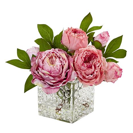 """Nearly Natural 10"""" Peony in Glass Vase"""