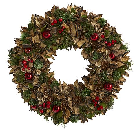 """Nearly Natural 15"""" Holiday Artificial Wreath w/Pine Cones & Ornaments"""