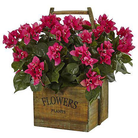 """Nearly Natural 18"""" Bougainvillea in Rustic Wood Planter"""