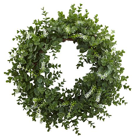 """Nearly Natural 18"""" Eucalyptus Double Ring Wreath with Twig Base"""