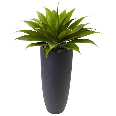 """Nearly Natural 38"""" Agave in Gray Cylinder Planter"""