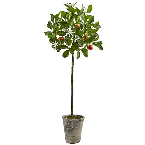 """Nearly Natural 38"""" Potted Orange Tree"""