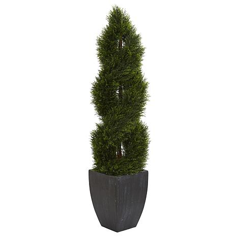 Nearly Natural 5 ft. Double Cypress Spiral Topiary in Black Planter