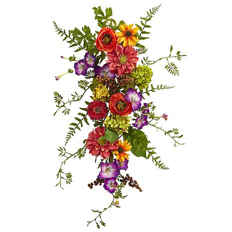 Nearly Natural Garden Flower Teardrop Arrangement