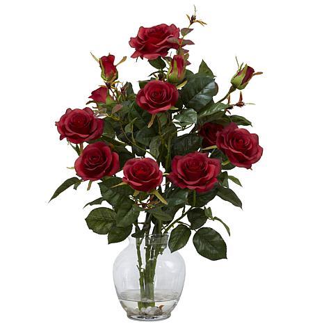 Nearly Natural Silk Rose-Bush Flower Arrangement