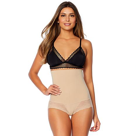 Nearly Nude Smoothing High-Waist Brief with Lace Trim