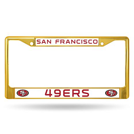 Officially Licensed NFL Gold Chrome License Plate Frame - 49ers ...