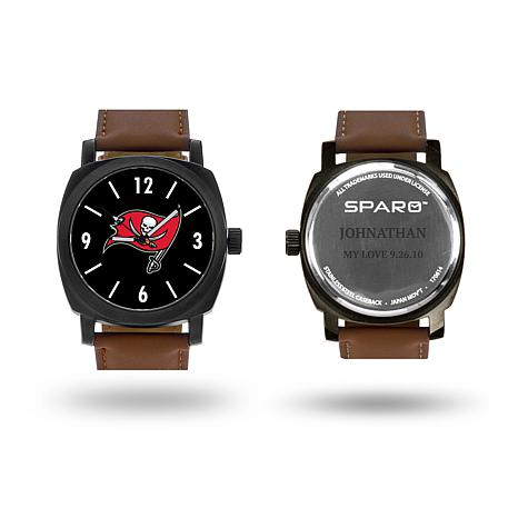 """NFL Sparo """"Knight"""" Faux Leather Strap Personalized Watch - Buccaneers"""
