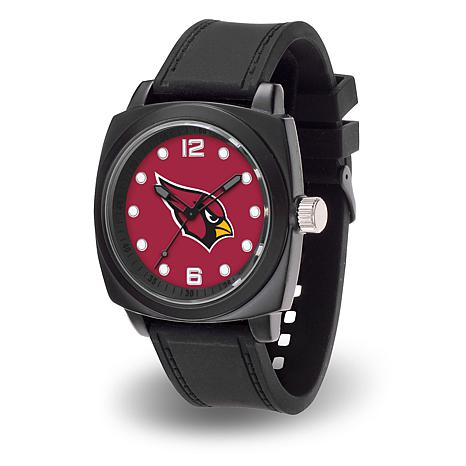 "NFL Sparo Team Logo ""Prompt"" Black Strap Sports Watch - Cardinals"