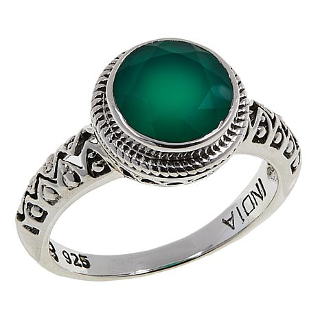 Nicky Butler 1.50ctw Green Chalcedony Round Solitaire Textured Ring