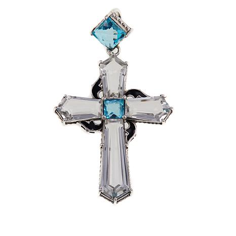 Nicky Butler 23.5ctw Aqua and Clear Quartz Cross Pendant