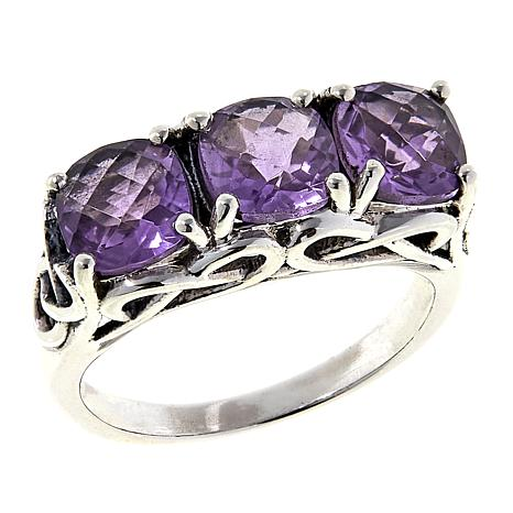 Nicky Butler 2.40ctw Amethyst Cushion-Cut Trio Ring