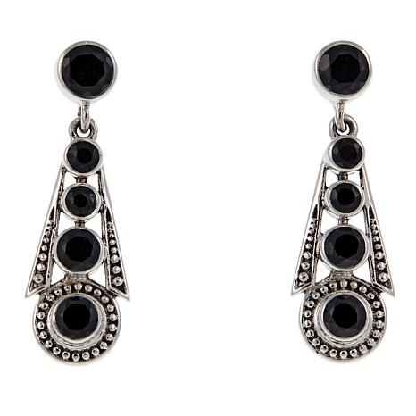 Nicky Butler 3.30ctw Black Spinel Graduated Deco Drop Earrings
