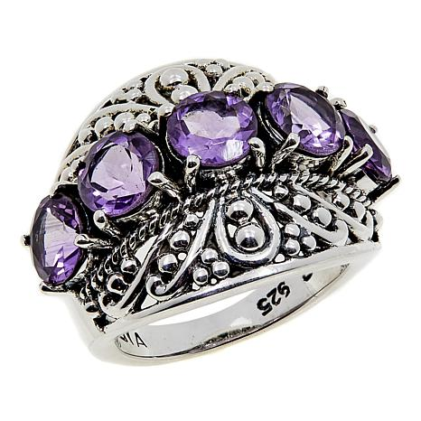 Nicky Butler 3.50ctw Amethyst Caviar Bead Dome Ring