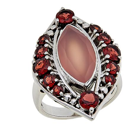Nicky Butler 5.15ctw Pink Chalcedony and Garnet Sterling Silver Ring