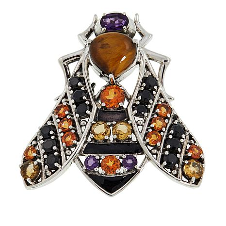 Nicky Butler 5.18ctw Tiger's Eye and Multigemstone Bee Brooch