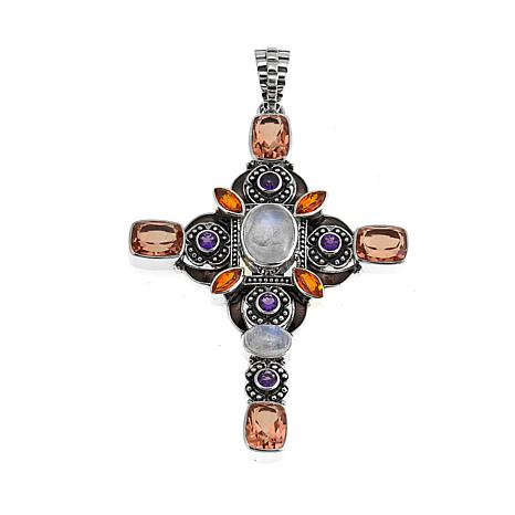 Nicky Butler 7.50ctw Moonstone and Multigemstone Flower Cross Pendant