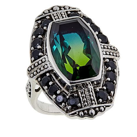 Nicky Butler 8.85ctw Olivine Quartz Triplet and Black Spinel Deco Ring