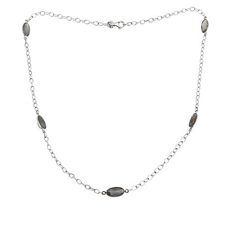 "Nicky Butler 9.50ctw Labradorite Sterling Silver 20"" Station Necklace"
