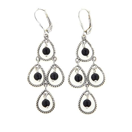 Nicky Butler Black Onyx Bead Sterling Silver Chandelier Earrings
