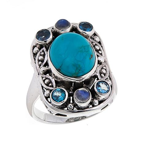 Nicky Butler Mojave Turquoise and Multigem  Ring