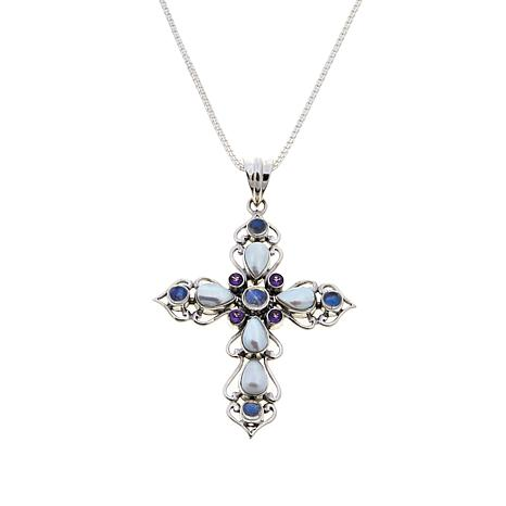 Nicky Butler Moonstone and Multigem Cross Pendant