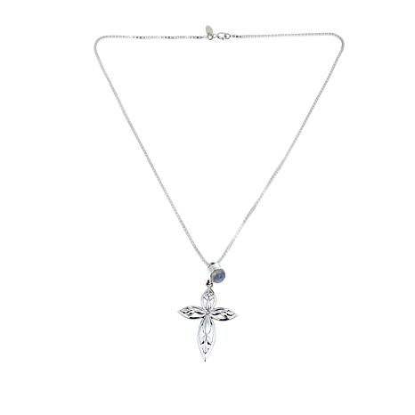 Nicky Butler Moonstone Sterling Silver Leaf-Design Cross Pendant