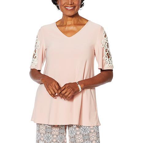 Nina Leonard Crochet Trim Matte Jersey Tunic