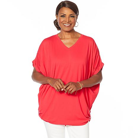 Nina Leonard Dolman Sleeve Tunic with Side Buttons