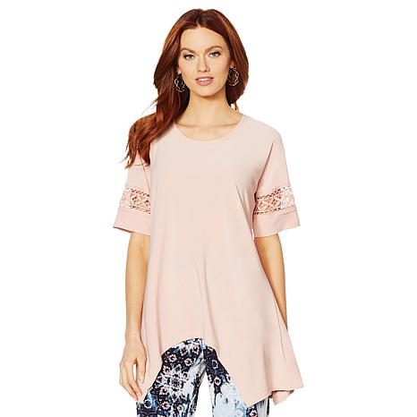 Nina Leonard Dolman Sleeve Tunic with Uneven Hem