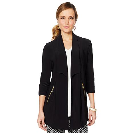 Nina Leonard Draped Cardigan with Zipper Pockets