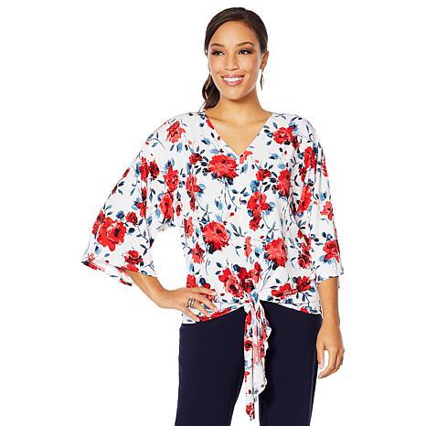 Nina Leonard High-Tech Crepe Leopard Print Kimono Top