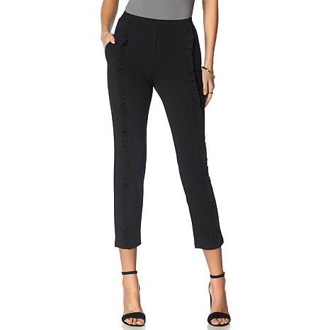Nina Leonard High-Tech Crepe Skinny Pant with Ruffle