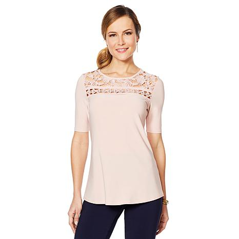 Nina Leonard Lace Yoke Top