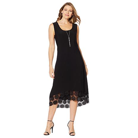 Nina Leonard Miracle Matte Jersey Dress with Crochet Hem