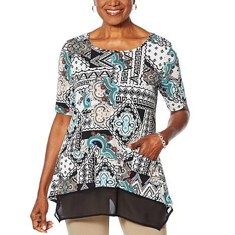 Nina Leonard Mixed-Media Tunic Top with Pockets