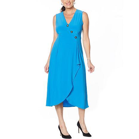 Nina Leonard Sleeveless Wrap Dress with Button Detail
