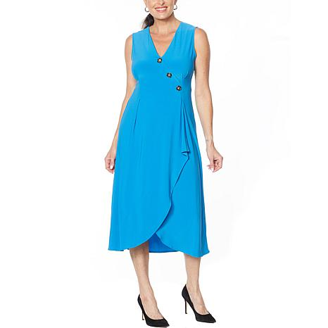 Nina Leonard Sleeveless Wrap Dress with Button Detail
