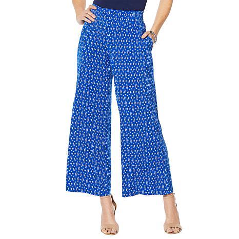 Nina Leonard Stretch Crepe Wide Leg Pant with Pockets