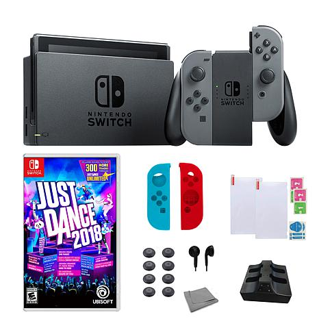 """Nintendo Gray Switch Bundle with """"Just Dance 2018"""" Game"""